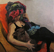Portraits Paintings - Portrait with little dog by Roberto Del Frate