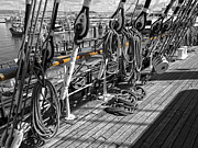 Boat Hardware Prints - PORTSIDE RAIL of THREE-MASTED SCHOONER - SAN FRANCISCO Print by Daniel Hagerman