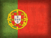 Portugal Metal Prints - Portugal Flag Vintage Distressed Finish Metal Print by Design Turnpike