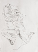 Chair Drawings - Posed Erich by Andy Gordon
