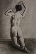 Featured Drawings Posters - Posed Nude Poster by Rachel Hames