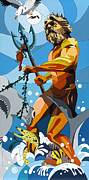 Neptune Painting Prints - Poseidon - w/hidden pictures Print by Konni Jensen