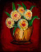 Mums Paintings - Posies in the Copper Pot by Larry Martin