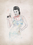 Polka Dot Prints - Posing With Gun 2 Print by Balazs Solti