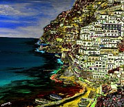 Mediterranean Landscape Mixed Media Posters - Positano at night Poster by Loredana Messina