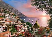 Balcony Digital Art Posters - Positano Poster by Dominic Davison