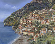 Harbour Painting Framed Prints - Positano e la Torre Clavel Framed Print by Guido Borelli