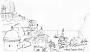 Boat Cruise Drawings Prints - Positano Italy Print by Valerie Freeman