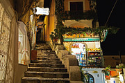 Groceries Posters - Positano Market at Night Poster by George Oze