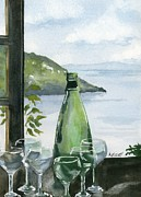 Wine Glass Paintings - Positano by Marsha Elliott
