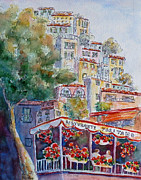 Terraced Houses Painting Framed Prints - Positano Restaurant Framed Print by Carolyn Jarvis