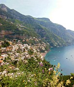 Positano Prints - Positano Through The Flowers Print by Marilyn Dunlap