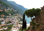 Cypress Trees Prints - Positano Thru The Cypress Print by Marilyn Dunlap