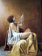 Silk Painting Originals - POSSESSION-Woman with Pearls by Maxx Phoenixx
