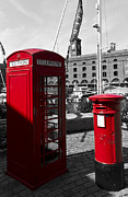 Post Box Framed Prints - Post Box Phone box Framed Print by David Pyatt