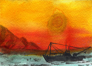Trawler Metal Prints - Post Meridian at Sea Metal Print by R Kyllo
