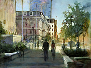 City Scape Paintings - Post Office Stroll by Dan Nelson