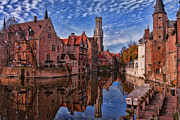 Brick Building Prints - Postcard Canal Print by Joan Carroll