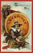 Thanksgiving Paintings - Postcard of Pilgrim Plucking a Turkey by American School