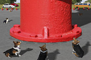 Fire Digital Art - Postcards from Otis - The Hydrant by Mike McGlothlen