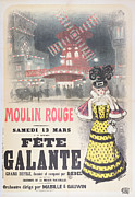 Vintage Paris Drawings Posters - Poster Advertising a Fete Galante at the Moulin Rouge Poster by Roedel