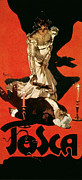 Red And Black Posters - Poster Advertising a Performance of Tosca Poster by Adolfo Hohenstein