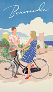 Biking Drawings - Poster advertising Bermuda by Adolph Treidler