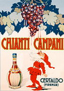 Red Wine Bottle Drawings Prints - Poster advertising Chianti Campani Print by Necchi