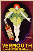 Red Art Drawings Posters - Poster Advertising Fratelli Branca Vermouth Poster by Jean DYlen