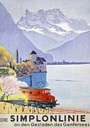 Mountain Drawings Framed Prints - Poster Advertising Rail Travel Around Lake Geneva Framed Print by Emil Cardinaux
