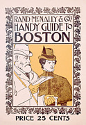 City Drawings Framed Prints - Poster Advertising Rand McNally and Cos Hand Guide to Boston Framed Print by American School