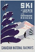Winter Sports Painting Prints - Poster advertising the Canadian Ski Resort Jasper Print by Canadian School