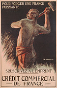 Male Worker Framed Prints - Poster Advertising the French National Loan Framed Print by B Chavannaz