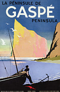 Boat Drawings Prints - Poster advertising the Gaspe peninsula Quebec Canada Print by Canadian School