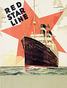 Color Line Drawings Prints - Poster Advertising the Red Star Line Print by Belgian School