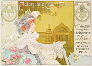 Art Nouveau Drawings Metal Prints - Poster advertising the sixth exhibition of the Automobile Club de France Metal Print by J Barreau