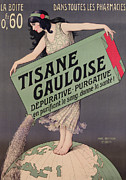 Globe Drawings Framed Prints - Poster Advertising Tisane Gauloise Framed Print by Paul Berthon