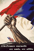 Flag Drawings Prints - Poster for Liberation of France from World War II 1944 Print by Anonymous