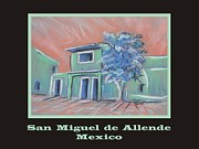 Adobe Buildings Pastels Posters - Poster - Green Village Poster by Marcia Meade
