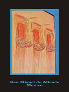Iron  Pastels Posters - Poster - Orange Balconies Poster by Marcia Meade