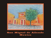 Adobe Buildings Pastels Posters - Poster - Orange Village Poster by Marcia Meade