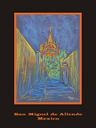 Church Street Pastels Framed Prints - Poster - Parroquia from the back Framed Print by Marcia Meade