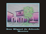 Adobe Buildings Pastels Posters - Poster - Purple Village Poster by Marcia Meade