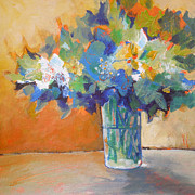Floral Pictures Painting Prints - Posy in Orange and Blue Print by Susanne Clark