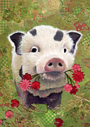 Pig Prints Paintings - Pot-bellied Piglet by Darlene Fletcher