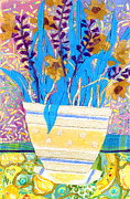 Table Cloth Mixed Media Metal Prints - Pot of Blue Metal Print by Diane Fine