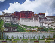 Tibetan Buddhism Metal Prints - Potala Palace Metal Print by Joan Carroll
