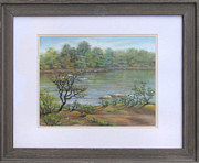 Landmarks Pastels Originals - Potomac River Near Swains Lock by Nancy Heindl