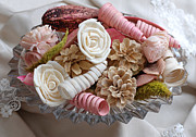 Pine Cones Photos - Potpourri in Pink and Cream by Connie Fox