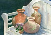 Terra Cotta Paintings - Pots at Andys Garden by Marsha Elliott